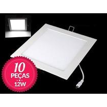 Kit 10 Painel Plafon Luminaria Led Quadrado Embutir Slim 12w