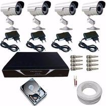 Kit Completo Gravador 4 Cameras Com Acesso Imagens Internet