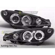 Farol Peugeot 206 Mascara Negra Angel Eyes Led + Xenon O Par