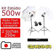 Estúdio Fotográfico Completo 500w Tocha Sombrinha Rádio 110v