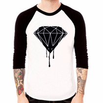 Blusa Camiseta Raglan 3/4 Diamont - Diamante