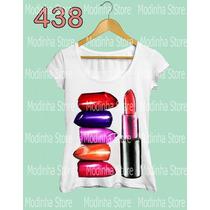 Blusa Tshirt Feminina Batom Cores Moda Fashion Modinha Store