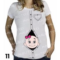 Camiseta Bebe Espiando Gestante Gravida Chá De Bebê T-shirt