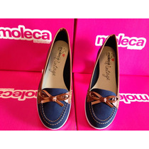 Mocassim Moleca Ref:5303.100/vintage Jeans Azul/marinho Nº36