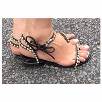 Rasteirinha Pedra Preta Marca Leluel Shoes Inspiração Schutz