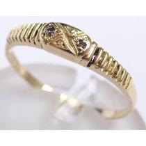 Feliz Joias - Diamantes Em Lindo Anel De Ouro