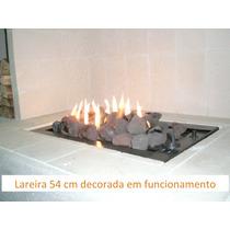 Lareira A Gás ¿ 54 Cm ¿ 2 Linhas De Fogo Aço Carbono, Preto.