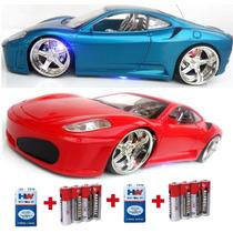 Kit 2x Dois Carrinho Carro Controle Remoto Ferrari + Pilhas
