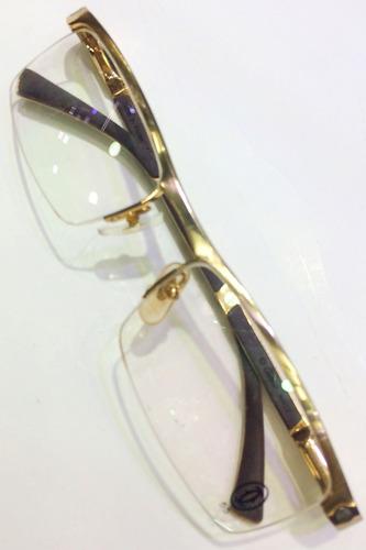 Armação Para Oculos De Grau Cartier Titanium Meio Aro Gold. Preço  R  119 99  Veja MercadoLibre 558e364fac