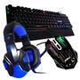 Kit Gamer Mouse 3200dpi Headset Teclado Dhj-100 C/ Led Dh04