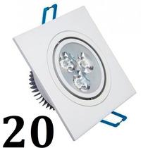 20 Spot Led Quadrada Branco Luz Branca Fria 3w Teto Sanca