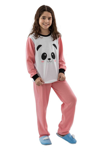 9a3f3c357 Pijama De Panda Infantil Peluciado Moletom Flanelado Menina