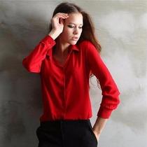 Blusa Camisa Feminina Chiffon Manga Longa Viscose Importada