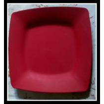 Kit 6 Pratos Plástico Vermelho Duráveis