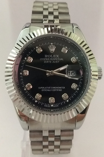 cbc9a43e068 Relogio Day Just Prata Fundo Preto Rolex