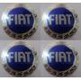 Emblemas Fiat Azul Aluminío Calota Ou Roda 48 Mm + Brinde