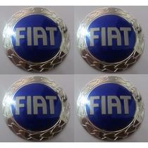 Emblemas Fiat Azul Aluminío Calota Ou Roda 50 Mm + Brinde