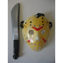 Máscara Jason Com Facão Kit Sexta Feira 13 Vorhess Halloween