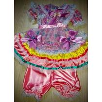 Vestido Infantil Caipira Luxuoso Pra Brilhar Na Festa Junina