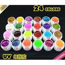 Kit Com 24 Gel Com Glitter Colorido Para Decoração De Unhas.