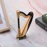 Basswood Miniatura Harpa Modelo Mini Instrumento Musical Com