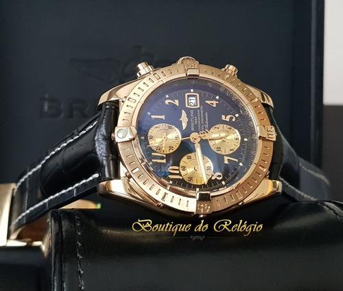 866c0b4244f Relógio Eta - Modelo Chronomat Evolution 44 Dial Preto Gold