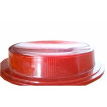 Lente Lanterna Bojuda Cromada (3 Marias) Vermelha Caminhão