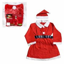 Fantasia Festa Natal Mamãe Noel 9 A 10 Anos Infantil Vestido