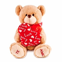 Urso Ursinho De Pelúcia Bege Com Coração Buba Toys 34 Cm