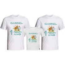 Kit Aniversário Infantil 3 Camisetas Personalizadas Qq Tema