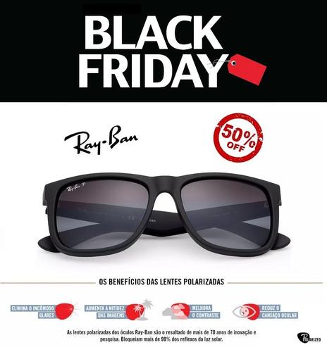Óculos De Sol Ray Ban Justin Rb4165 Preto Masculino Polariza - R  66 ... ec692a7b8b