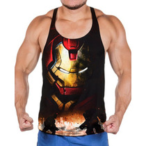 Camisa Regata Homem De Ferro E Hulk Malha Dry Fit