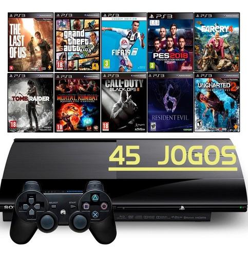 Playstation 3 Super Slim Ps3 + 45 Jogos + Gta5 + Fifa 19