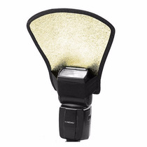 Difusor Flash Leque Rebatedor 2 Lados Branco Dourado