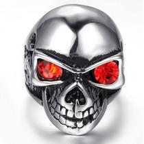 Anel Aço Titânio Caveira Cranio Olho Vermelho Exu Rock Magia