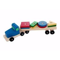 Caminhão Brinquedo De Madeira Transformas Com 8peças Carlu