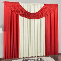 Cortina Para Sala Cristal Vermelho Branca 3,00m X 2,80m
