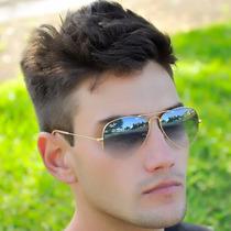 Óculos De Sol Masculino/feminino Aviador Azul Degrade