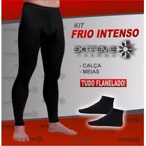 Kit Térmico Frio Intenso Flanelado Extreme Calça + Meias