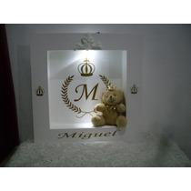 Quadro Enfeite Porta Maternidade Urso Com Coroa E Com Led