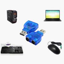 Adaptador Conversor Usb Para 2 Portas Ps2 Teclado Mouse Pc