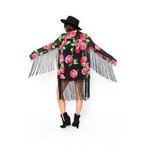 Kimono Com Franjas Floral Estampado Feminino Cardigan