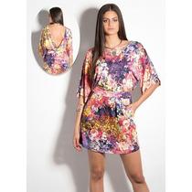 Vestido Feminino Decote V Costas Nuas Estampada Floral