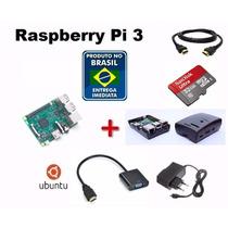 Kit Raspberry Pi 3 Pi3 Completo+fonte+sd32+case+convhdmi Vga