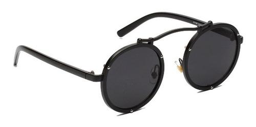 3b225c939 Óculos Redondo De Sol Prot Uv400 Retro Aço Vintage Steampunk