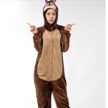 Pijama Adulto Inverno Macacão Animal Esquilo Castor Capuz