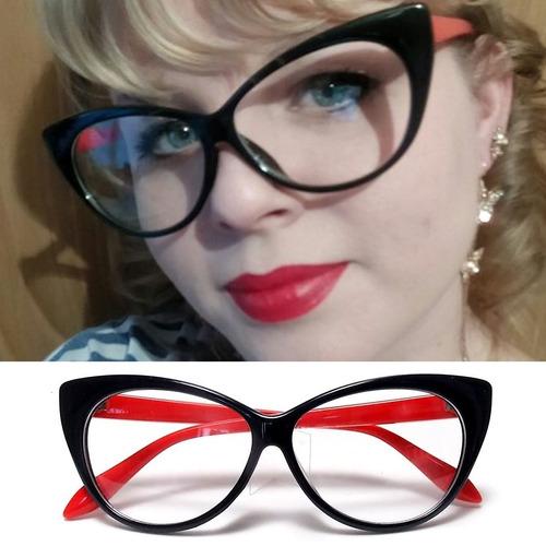 Armação Pin Up Gatinho Cat Eye - Óculos Retrô 53602eefa3
