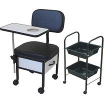Kit Manicure 02 = Cadeira Para Manicure + Carrinho Auxiliar