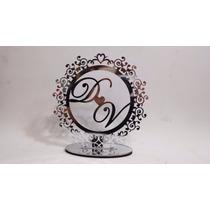 Topo De Bolo Brasão Espelhado | Prata | Personalizado