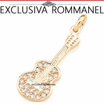 Exclusiva Rommanel Pingente Violão Zircônias Fol Ouro 541623